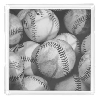 Baseballs in Black and White Acrylic Tray