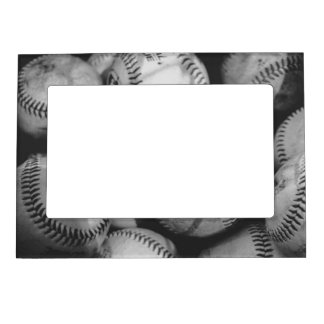 Baseballs in Black and White Magnetic Picture Frame
