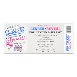 Baseballs or Bows Gender Reveal Ticket Style Card