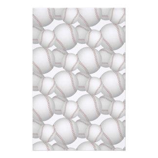 Baseballs Pattern Personalized Stationery