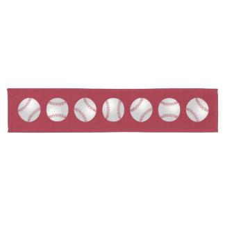 Baseballs Pattern Red And White Short Table Runner