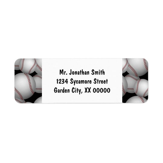 Baseballs Pattern Return Address Label