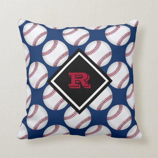 Baseballs Sport Pattern Name Red White Blue Cushion