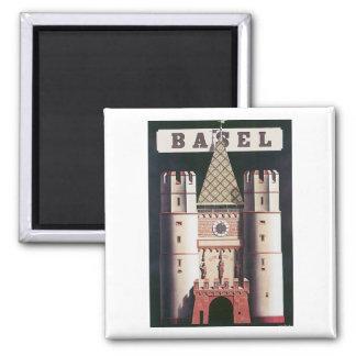 Basel Vintage Travel Poster Square Magnet