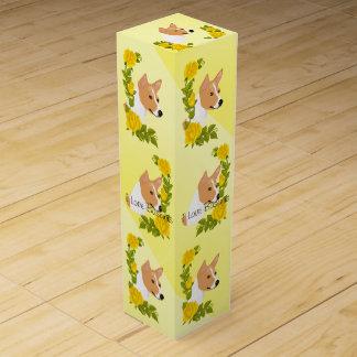 Basenji and Yellow Roses Wine Gift Box