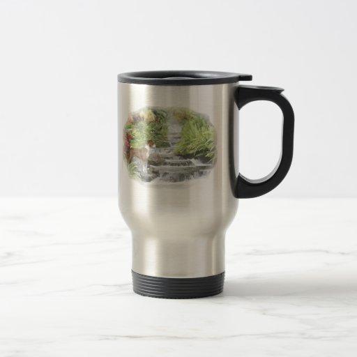 basenji by the water fall travel mug