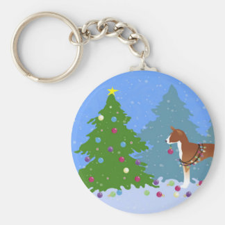 Basenji Decorating Tree in the Forest Key Ring