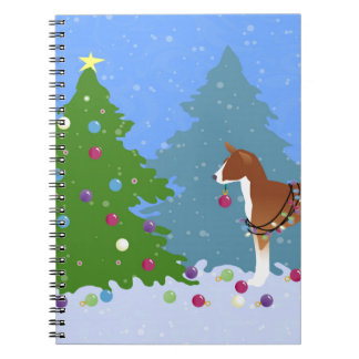 Basenji Decorating Tree in the Forest Notebooks