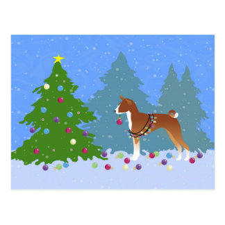 Basenji Decorating Tree in the Forest Postcard
