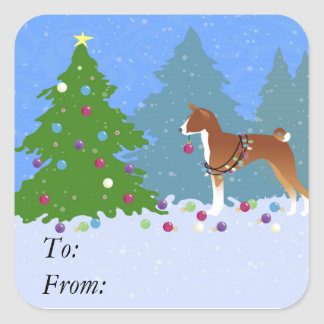 Basenji Decorating Tree in the Forest Square Sticker