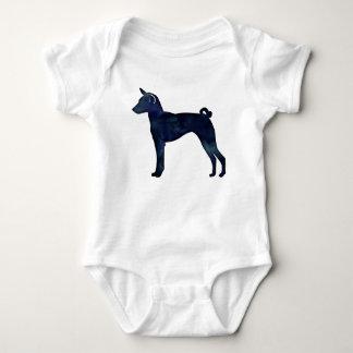 Basenji Dog Black Watercolor Silhouette Baby Bodysuit