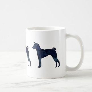 Basenji Dog Black Watercolor Silhouette Coffee Mug
