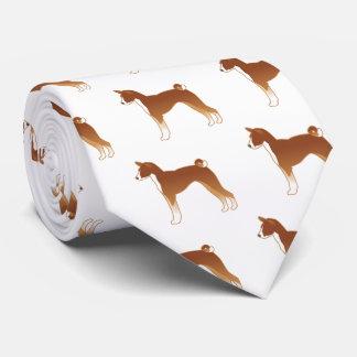 Basenji Dog Breed Illustration Silhouette Tie