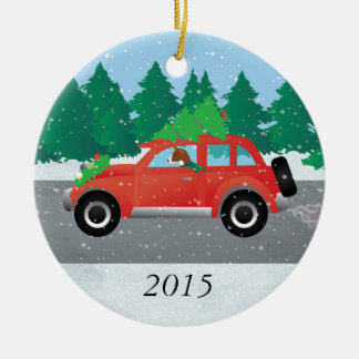 Basenji Dog Driving a  Red Car with Christmas Tree Round Ceramic Decoration