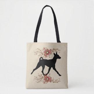 Basenji Dog & Floral Tote Bag