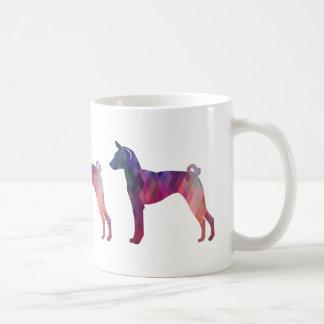 Basenji Dog Geo Pattern Silhouette Pink Coffee Mug