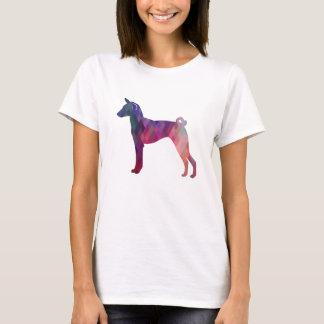 Basenji Dog Geo Pattern Silhouette Pink T-Shirt