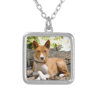 Basenji Dog Silver Plated Necklace