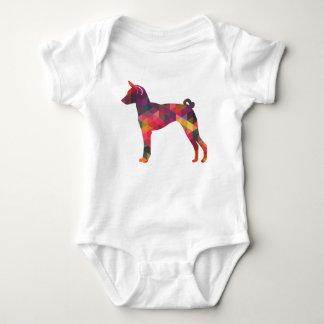 Basenji Geometric Pattern Silhouette Multi Baby Bodysuit