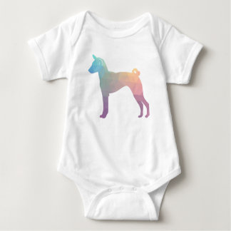 Basenji Geometric Pattern Silhouette Pastel Baby Bodysuit