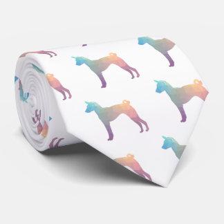 Basenji Geometric Pattern Silhouette Pastel Tie