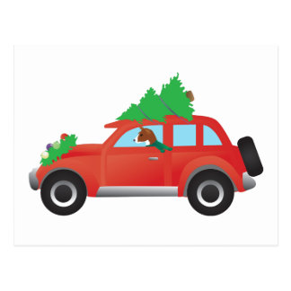 Basenji hound dog driving car with Christmas tree Postcard