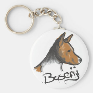 Basenji Painting Red and White Key Ring