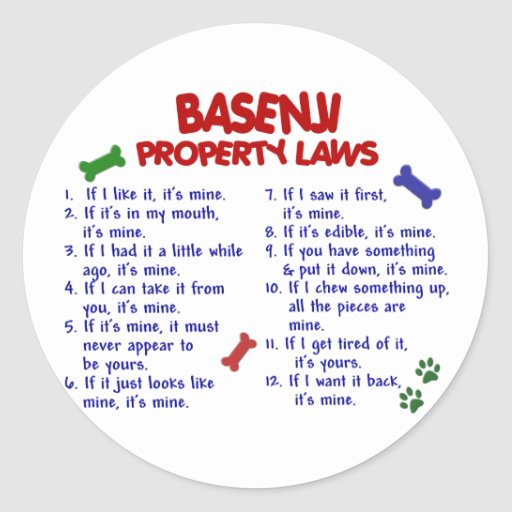 BASENJI Property Laws 2 Round Stickers