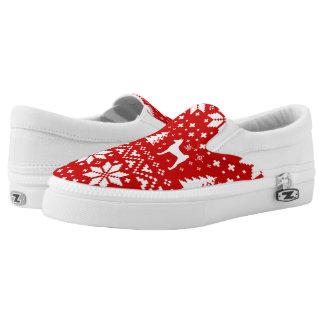 Basenji Silhouettes Christmas Pattern Slip-On Shoes