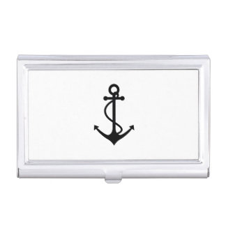 Basic Black Anchor Business Card Holder
