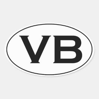 Basic Black and White VB Virginia Beach Oval Logo Oval Sticker