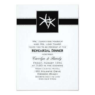 "Basic Black Starfish Rehearsal Dinner Invitation 4.5"" X 6.25"" Invitation Card"