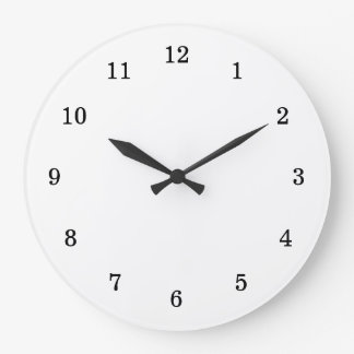 Basic Blank White with Black Numbers Wall Clock