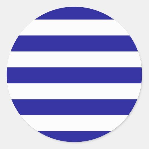 Basic Blue and White Stripes Round Sticker