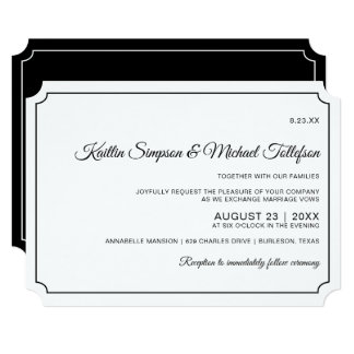 Basic Border Elegant Wedding Invitations (Black)