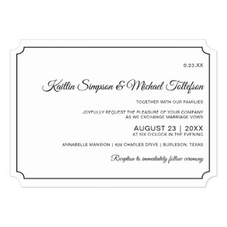 Basic Border Elegant Wedding Invitations (Kraft)