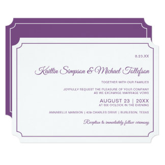 Basic Border Elegant Wedding Invitations (Purple)
