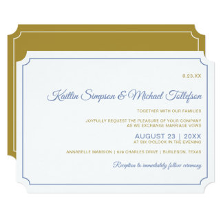 Basic Border Wedding Invitations- Blue-Gray & Gold Card