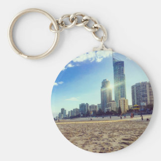 Basic Button key Chain Beach.