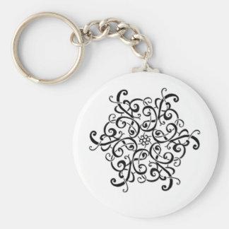 Basic Button Keychain-Black and White Design Key Ring