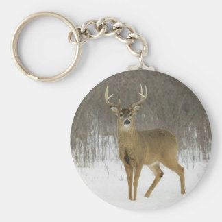 Basic Button Keychain,  Magnificent Snow Deer Basic Round Button Key Ring