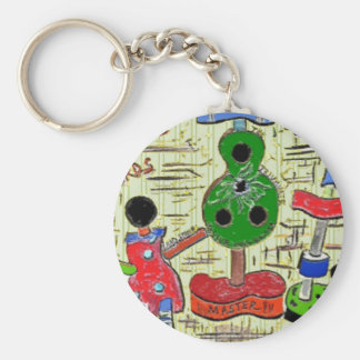 Basic Button Keychain with Surreal Art