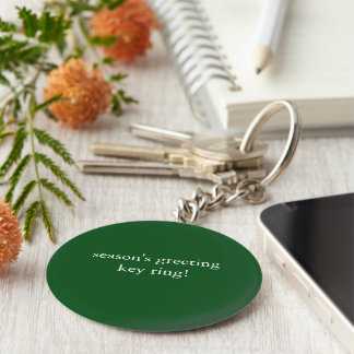 basic button season's greeting keyring basic round button key ring