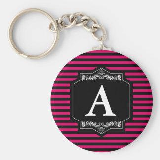 Basic Chaveiro 5,7cm Pink Stripes Monogram Key Ring