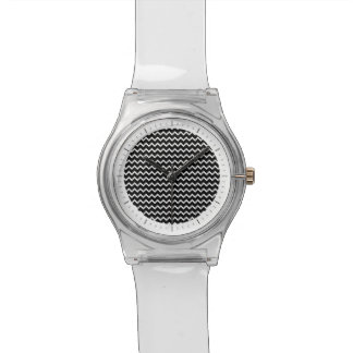 Basic Chevron Pattern in Black and White Wrist Watches