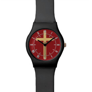 Basic Christian Cross Golden Ratio Yellow Red Watch