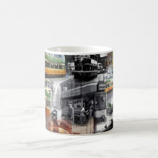 Basic coffe mug with pictures of trams of Glasgow