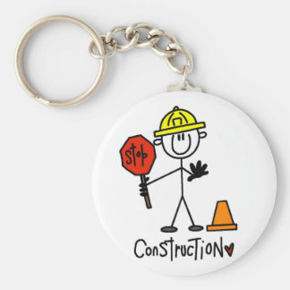 Basic Construction Tshirts and Gifts Basic Round Button Key Ring