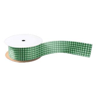 Basic Emerald Green Gingham Pattern Satin Ribbon