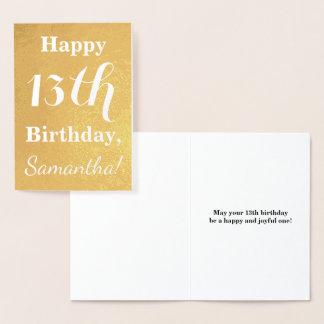 Basic Gold Foil 13th Birthday + Custom Name Foil Card